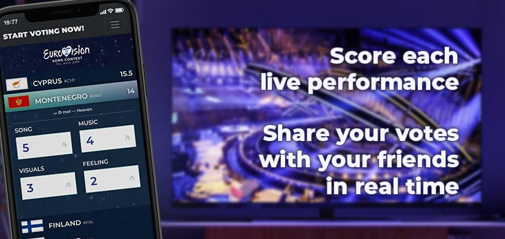 Score each live performance on your smartphone, PC or tablet, and share your votes with your friends in real time